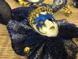 Set of 4 Jester Masquerade Wall or Tree Hanging ~ BLUE & GOLD